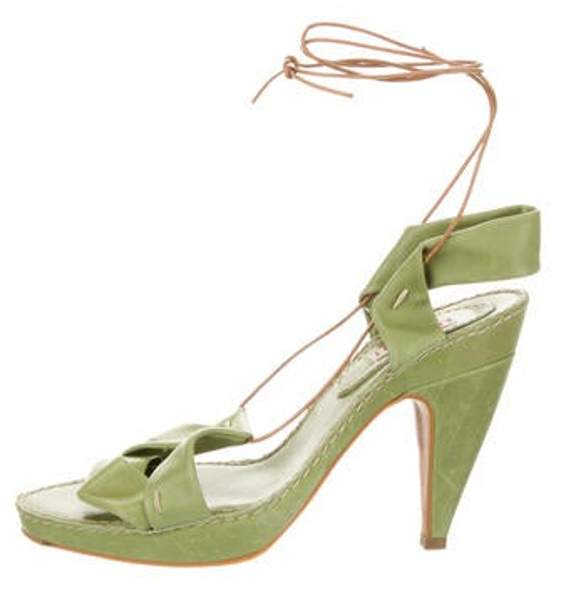 Marni Leather Tie-Up Sandals Green Leather Tie-Up Sandals