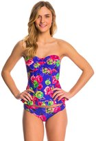Betsey Johnson Swimwear Mysterious Rose Bandeaukini Top 8140759