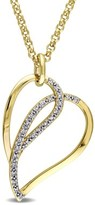 Catherine Malandrino Diamond Heart Necklace In 18k Yellow Gold Plated Sterling Silver.