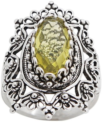 Artisan Crafted Sterling Filigree Gemstone Orna te Ring