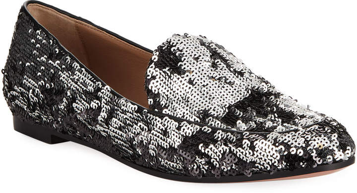 Aquazzura Purist Sequined Flat Loafer