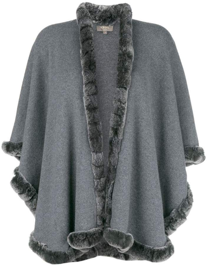 N.Peal rabbit fur trim cape