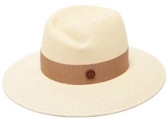 Maison Michel Virginie Grosgrain-trim Straw Hat - Beige