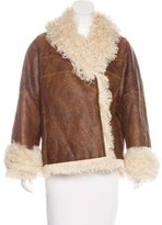 Oscar de la Renta Leather Shearling-Lined Jacket