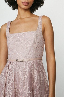 Coast Square Neck Belted Lace Maxi Dress