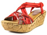 Azura Jaques Women Open Toe Leather Red Wedge Sandal.