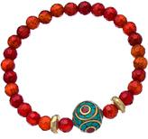 Devoted Jewelry Red Fire Agate Tibetan Stretch Bead Bracelet