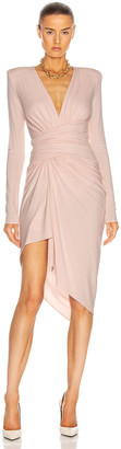 Alexandre Vauthier Long Sleeve Ruched Dress in Shell   FWRD