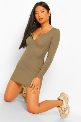 boohoo Petite Button Detail Rib Mini Dress