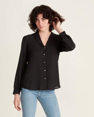 Karl Lagerfeld Paris Pleated Shawl Collar Long Sleeve Blouse