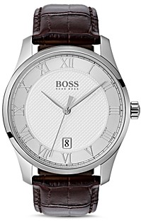 HUGO BOSS by Master Brown Croc-Embossed Leather Watch, 41mm