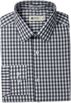 Haggar Men's Large Gingham Check Point Collar Regular Fit Long Sleeve Dress Shirt