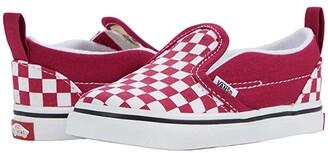 Vans Kids Slip-On V (Infant/Toddler) ((Checkerboard) Cerise/True White) Girls Shoes