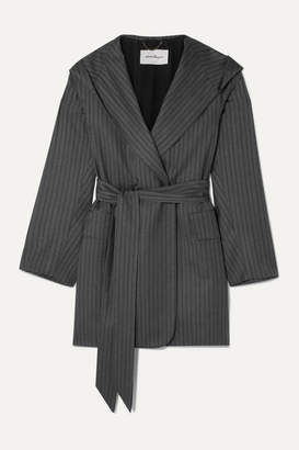 Salvatore Ferragamo Belted Hooded Pinstriped Wool Jacket - Dark gray