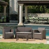Andover Mills Yoselin 4 Piece Rattan Sofa Seating Group with Cushions Color: Dark Brown