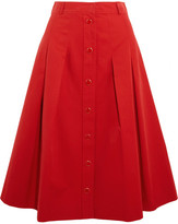 Vanessa Seward Démeter Pleated Cotton-gabardine Skirt - Red