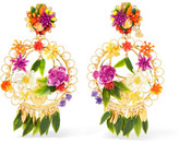 Mercedes Salazar Fiesta Gold-plated Resin Clip Earrings - Pink