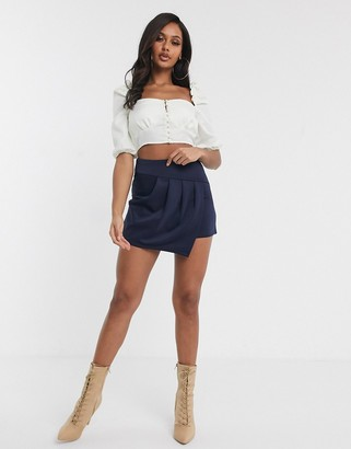 TFNC pleat overlay mini skirt