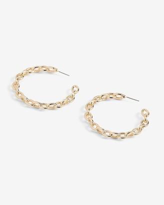 Express Interlocking Chain Hoop Earrings