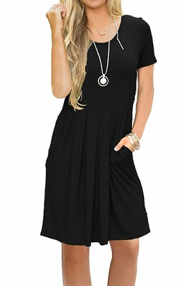 AUSELILY Women's Short Sleeve Pleated Loose Swing Casual Dress with Pockets Knee Length(UK 12-14