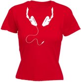 123t Slogans 123t Women's Headphone Cable ... Wrap Around Neck Design (M - ) FITTED T-SHIRT