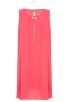 Quiz Coral Chiffon Necklace Tunic Dress