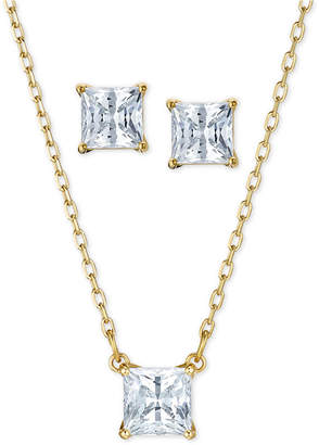 Swarovski Gold-Tone 2-Pc. Set Cubic Zirconia Square Solitaire Pendant Necklace & Matching Stud Earrings