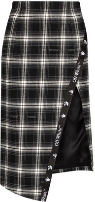 Off-White Check-Print Asymmetric Pencil Skirt