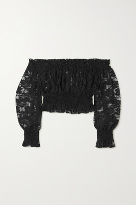 Norma Kamali Cropped Off-the-shoulder Shirred Lace Top - Black