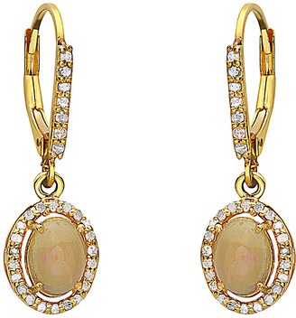 Forever Creations Usa Inc. Forever Creations Gold Over Silver 1.40 Ct. Tw. Diamond & Opal Earrings
