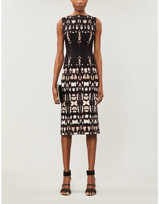 Graphic-pattern stretch-knit midi dress
