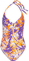 L'Agent by Agent Provocateur Hailie Open-back Printed Halterneck Swimsuit - Purple