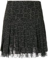 Roberto Cavalli pleated snake print skirt