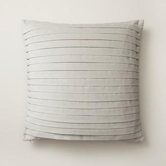 "Oui Pleated Velvet Pillow Cover Pigeon Gray 18"" X 18"""