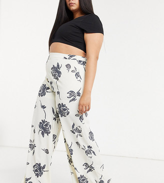 Glamorous Curve wide leg trousers in bold floral co-ord