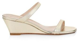Stuart Weitzman Aleena Metallic Leather Wedge Slide Sandals