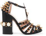 Gucci Embellished Cutout Leather Pumps - Black