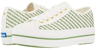 Keds x kate spade new york Triple Up Multi Woven (White/Green Woven Textile/Canvas) Women's Shoes