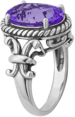 FINE JEWELRY Genuine Amethyst Oxidized Sterling Silver Rope Ring