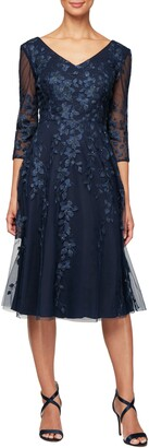 Alex Evenings V-Neck Embroidered Mesh Cocktail Dress