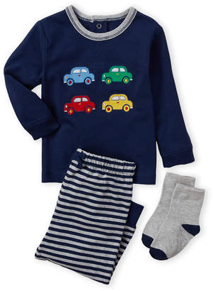 Little Me Newborn Boys) 3-Piece Cars Tee & Striped Joggers Set