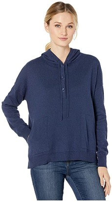 Elliott Lauren Cotton Cashmere Button Front Hooded Knit with Pocket Detail (Navy) Women's Clothing