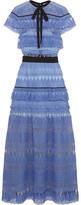 Self-Portrait Daphne Guipure Lace Maxi Dress - Blue