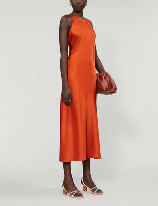 Rosetta Getty Cross-back satin-crepe midi dress