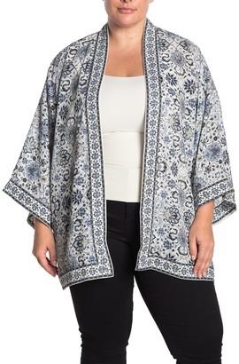 Max Studio Printed Open Front Kimono (Plus Size)