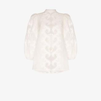Zimmermann High neck balloon sleeve lace top