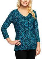 Ocean Teal Leopard Weekend V-Neck Sweater - Plus Too