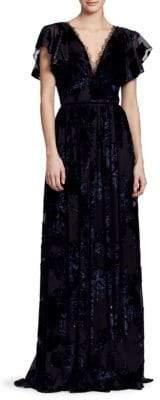 Marchesa Women's Velvet Lace Gown - Black - Size 4
