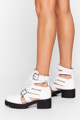 Nasty Gal Womens Talk It Cut-Out Lace-Up Ankle Boots - White