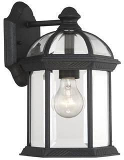 Three Posts Affric Glass Outdoor Wall lantern Finish: Textured Black